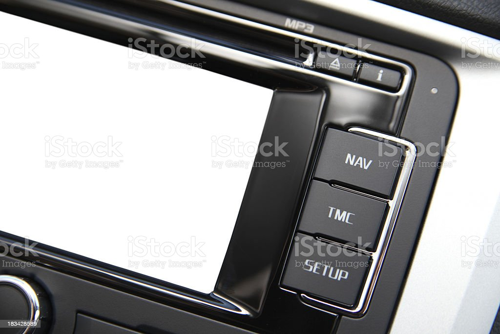 Car navigation system with blank screen royalty-free stock photo