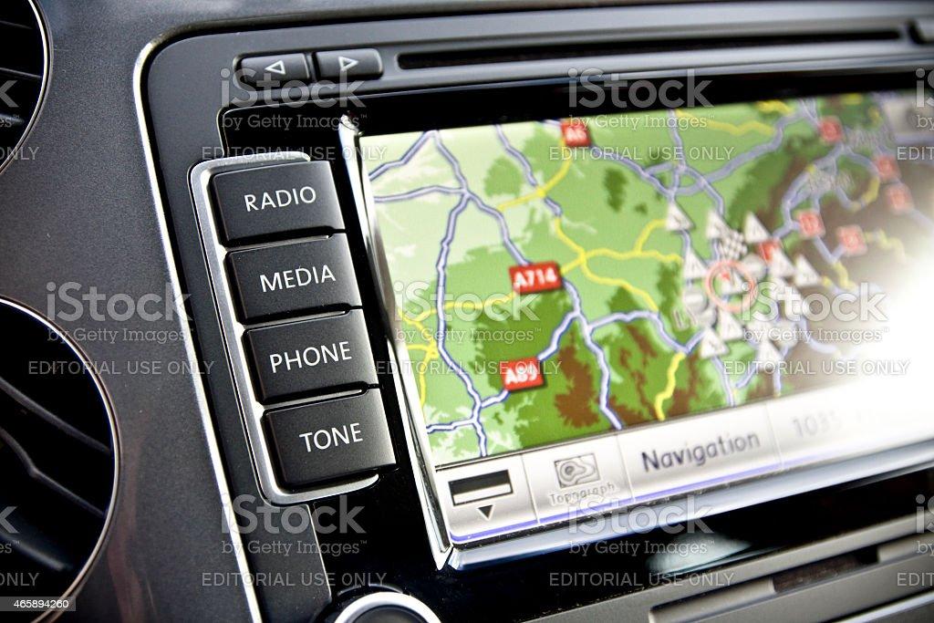 Car navigation technology close up stock photo