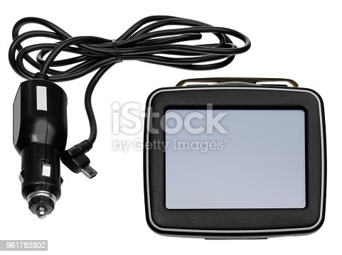 istock GPS car navigation with handle. Black electronic map device. 961783802