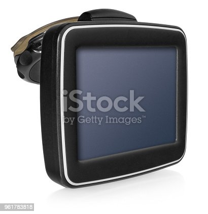 istock GPS car navigation with handle. Black electronic map device. 961783818