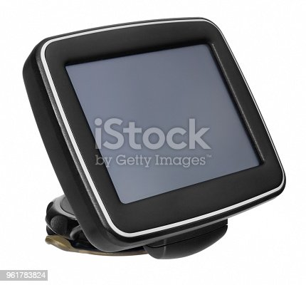 istock GPS car navigation with handle. Black electronic map device. 961783824