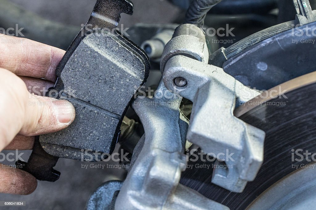 Car new brake pads in a box stock photo