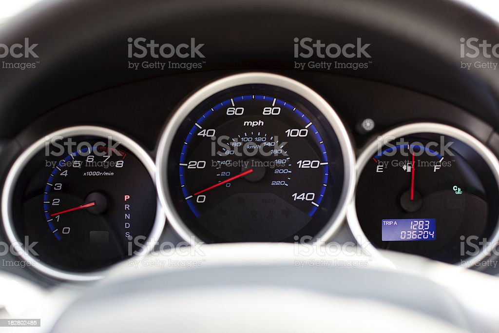 car odometer in blue and red royalty-free stock photo