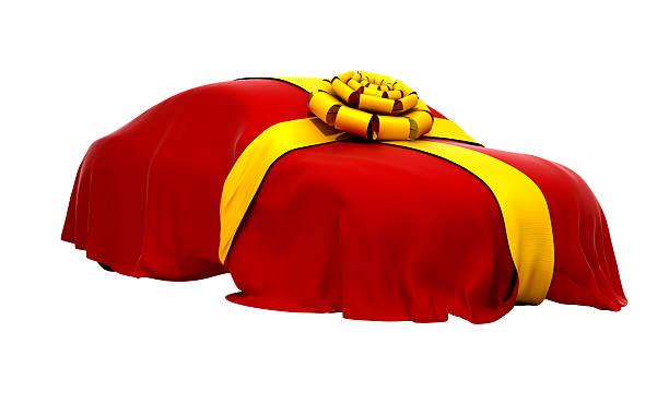 auto traum mit rotem tuch bedeckt - autoschleifen stock-fotos und bilder