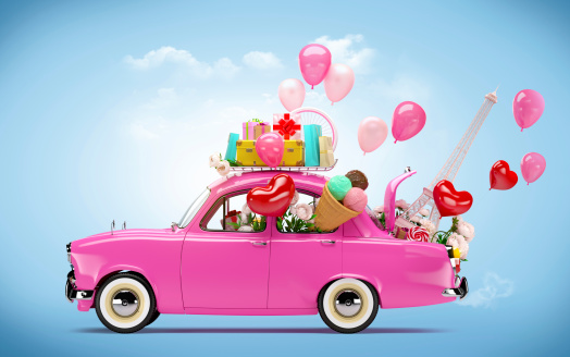 Pink car with symbols of love
