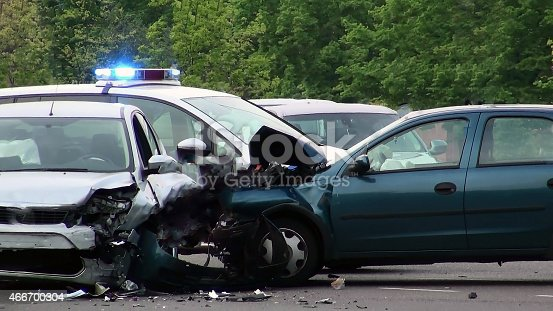 istock Car of road accident 466700304