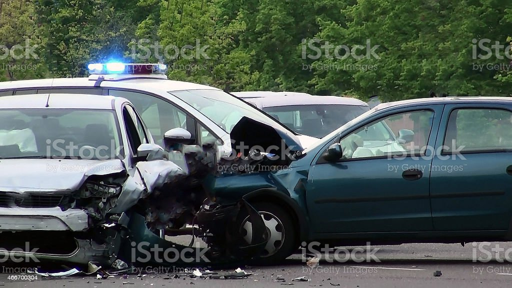 Car of road accident stock photo
