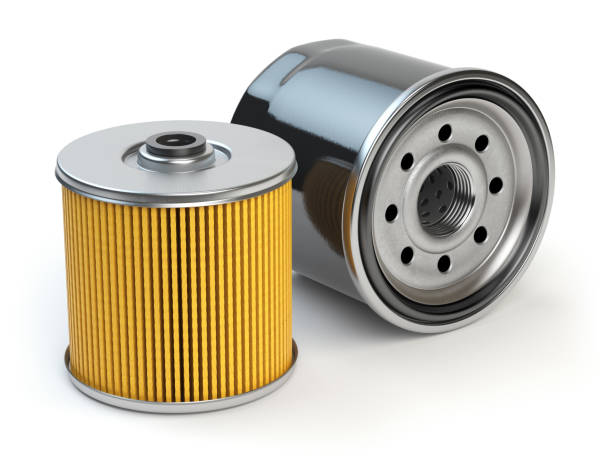 Car oil filter isolated on white background. Automobile spare part stock photo