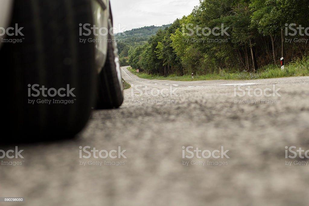Car on a country road royaltyfri bildbanksbilder