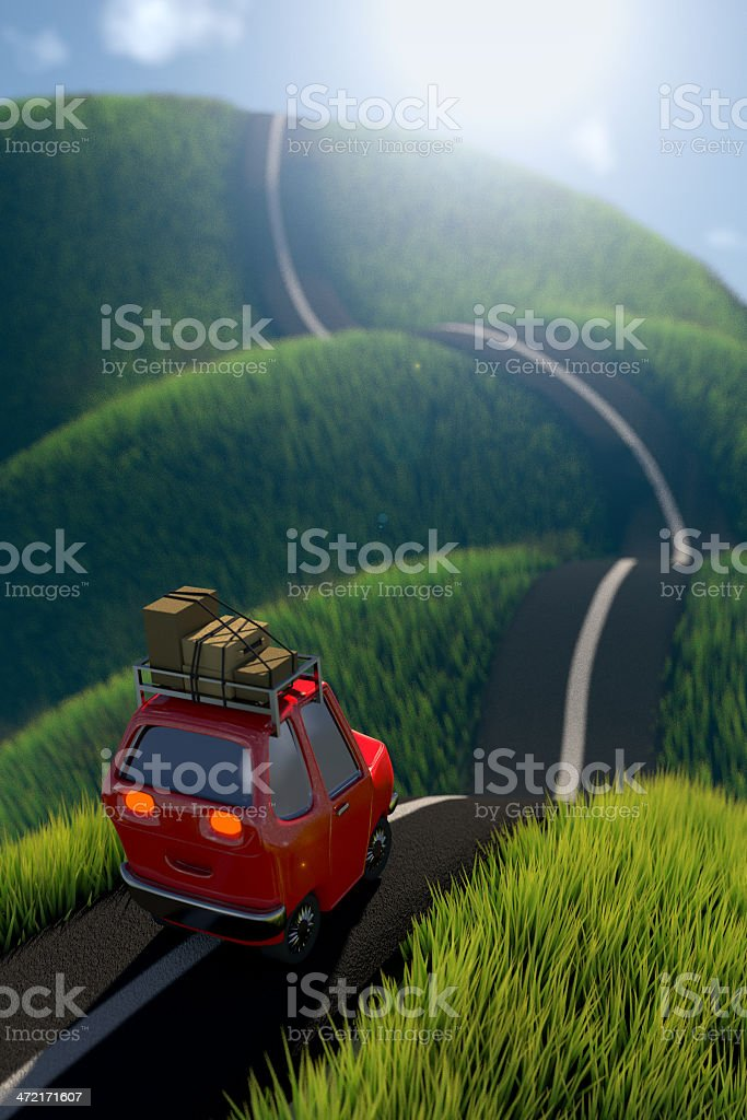 Car on a road, heading to the horizon royalty-free stock photo