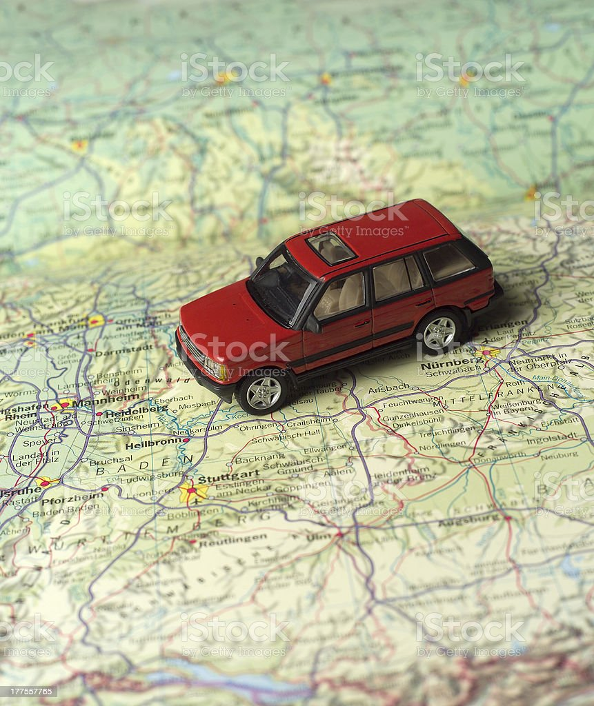 Car on a road map stock photo