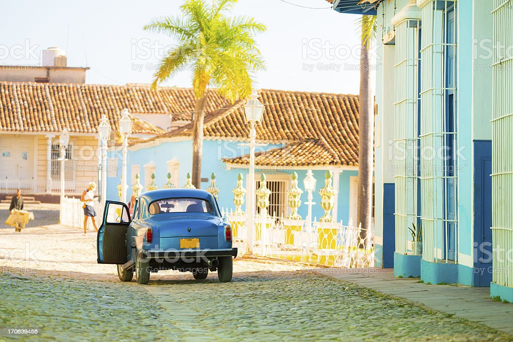 Car on a street in Trinidad old town, Cuba royalty-free stock photo