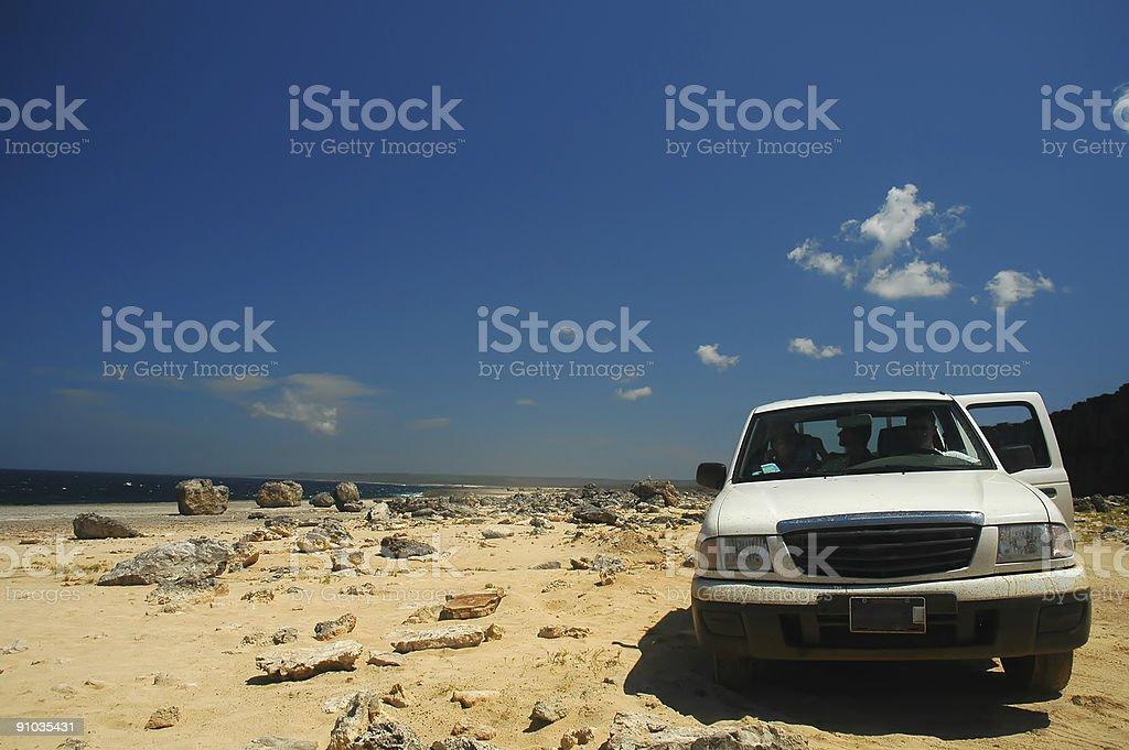 car on desert beach Bonaire royalty-free stock photo