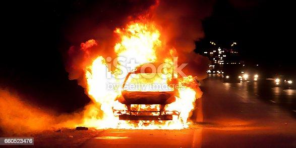 istock Car on fire 660523476