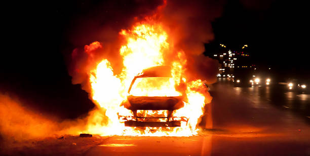Car on fire Car on fire riot stock pictures, royalty-free photos & images