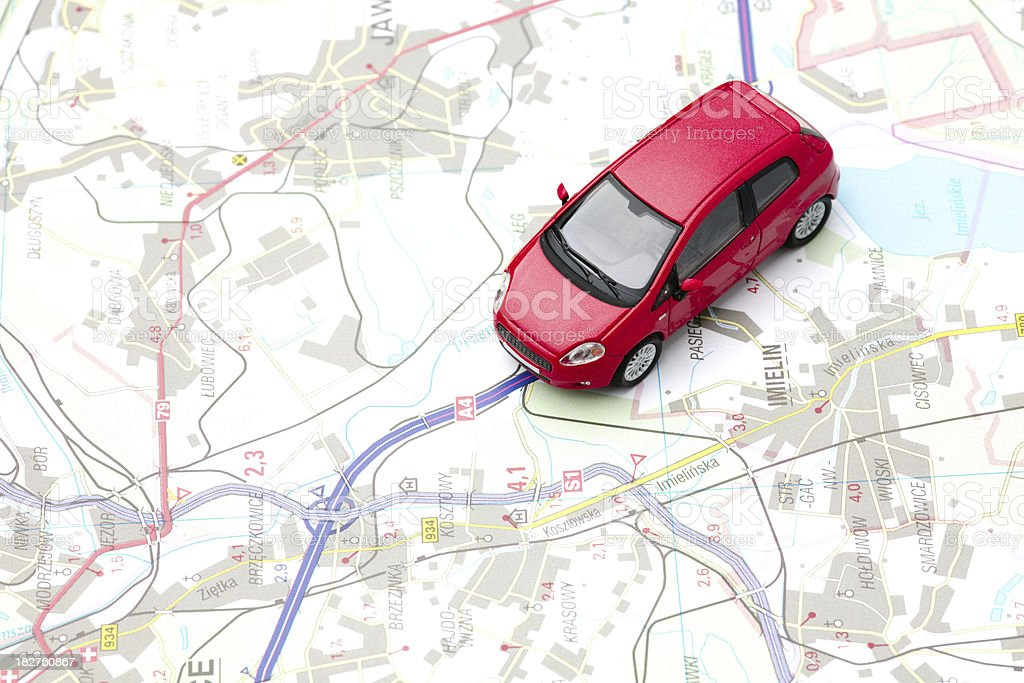 car on map royalty-free stock photo