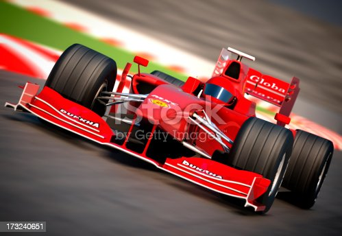 istock F1 car on racetrack, clipping path included 173240651