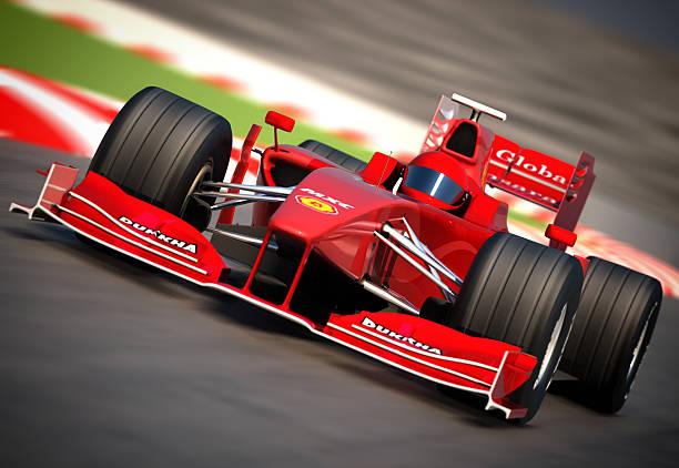 f1 автомобиль на racetrack, обтравка включен - formula 1 стоковые фото и изображения
