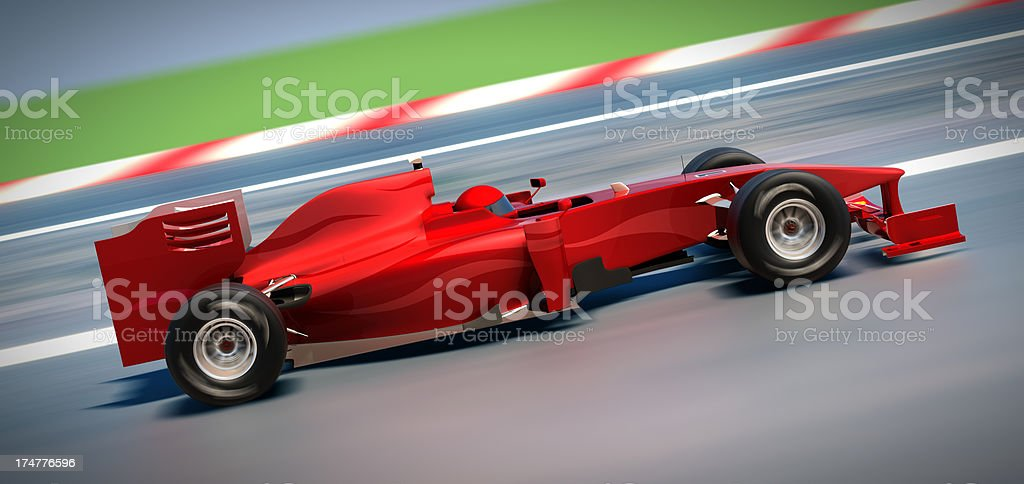 F1 car on racetrack, clipping path included stock photo