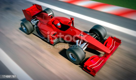istock F1 car on racetrack, clipping path included 174991761