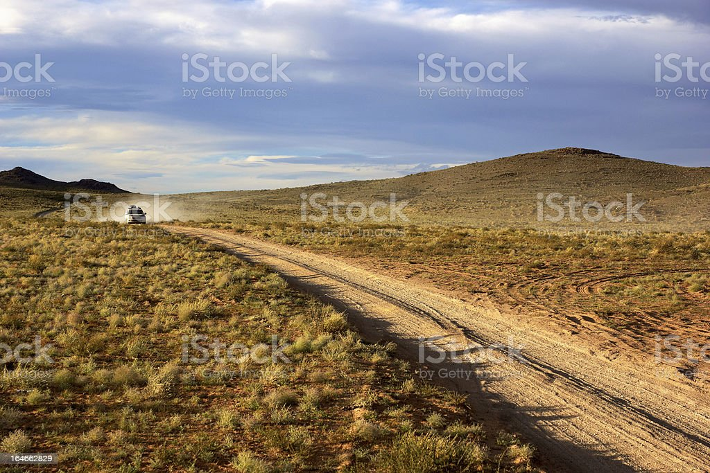 Car on road in the Mongolia royalty-free stock photo