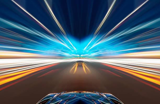 Auto auf der Straße mit motion blur Hintergrund. – Foto