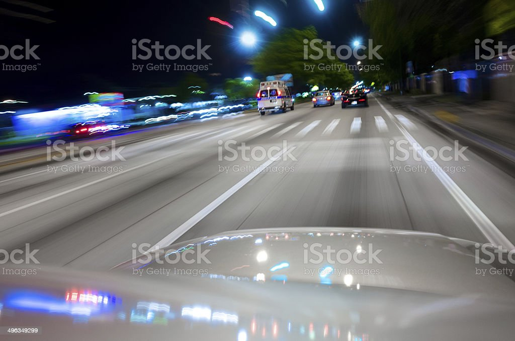 POV Car on Surface Street stock photo
