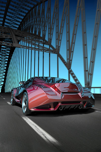 Car on the bridge stock photo