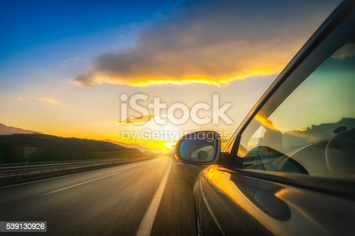 Car on the road with blurred background