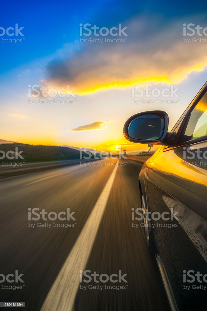 Car on the road with blurred background stock photo