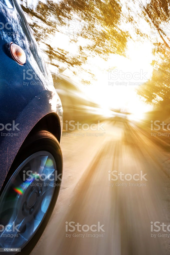car on the road with motion blur background. royalty-free stock photo