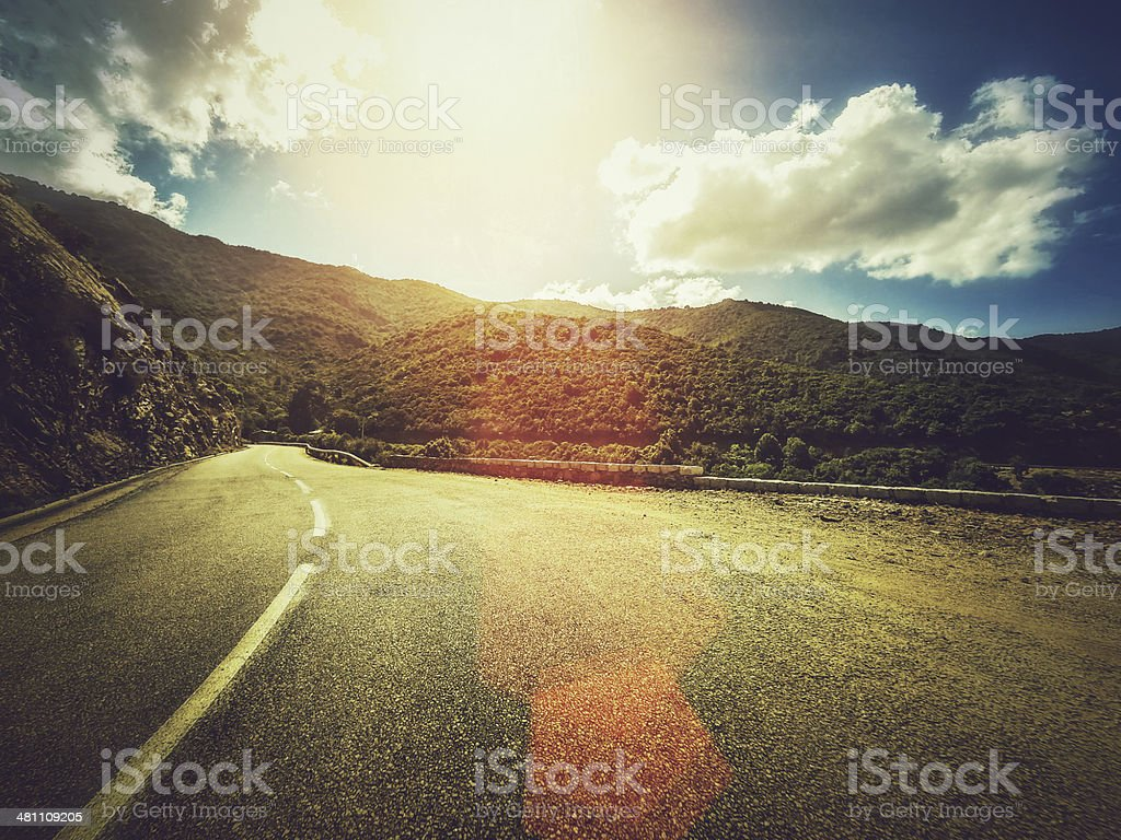 Car Onboard Camera: the roads of Corsica stock photo