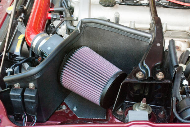 Car Open Air Intake Filter with Heat DIY Shield stock photo