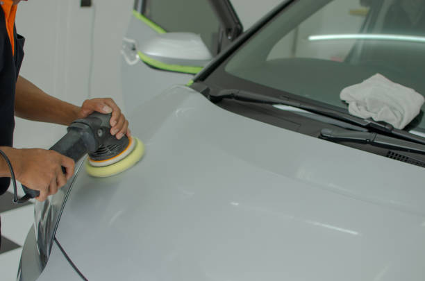 car paint polishing - auto body repair stock photos and pictures
