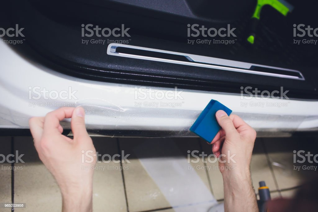 Car paint protection, protect coating installation royalty-free stock photo