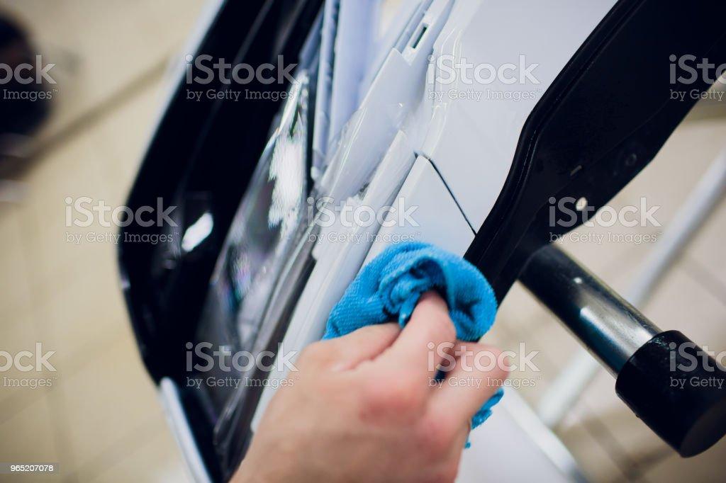 Car paint protection, protect coating installation zbiór zdjęć royalty-free
