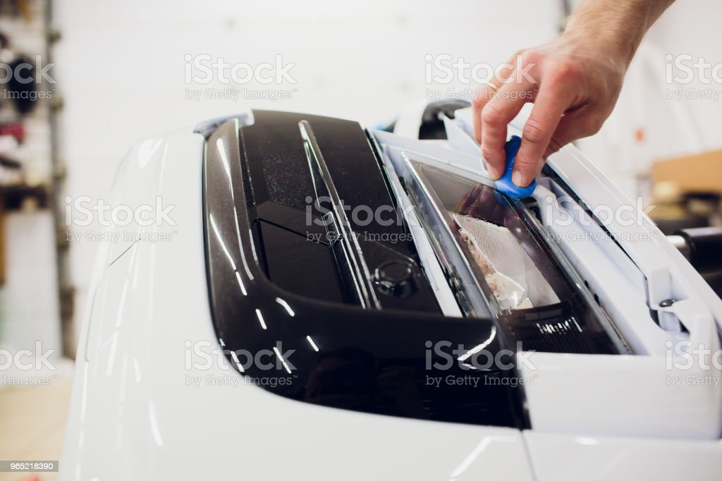 Car paint protection, protect coating installation zbiór zdjęć royalty-free