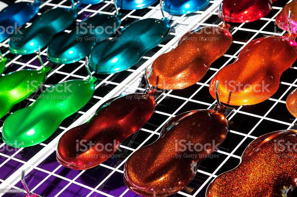 Car paint samples stock photo