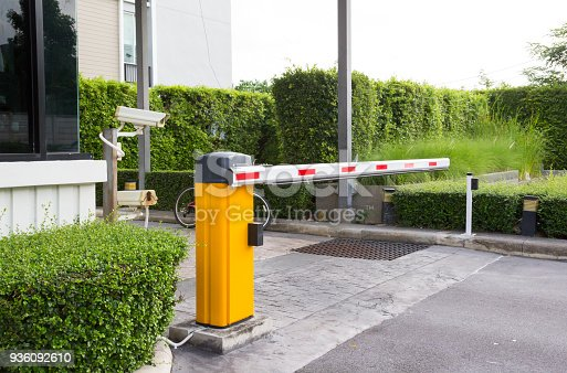 istock car park barrier, automatic entry system 936092610