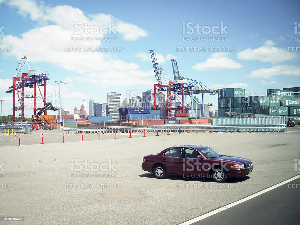 Car parked at Red Hook Container stock photo