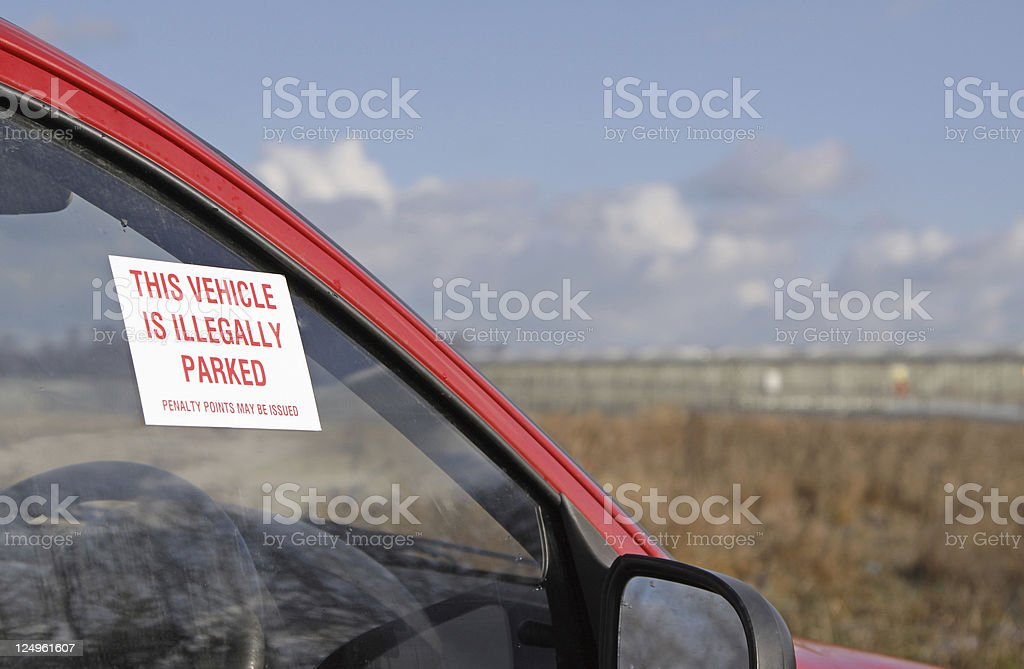 car parked illegally. stock photo