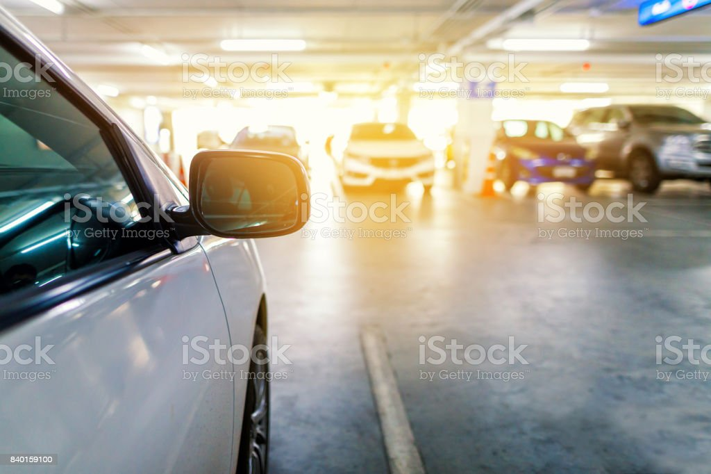car parked on the underground parking stock photo