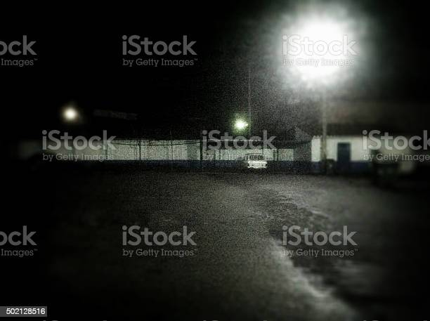 Car Parking In The Middle Of Nowhere Stock Photo - Download Image Now