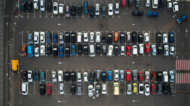Car parking lot viewed from above, Aerial view. Top view stock photo