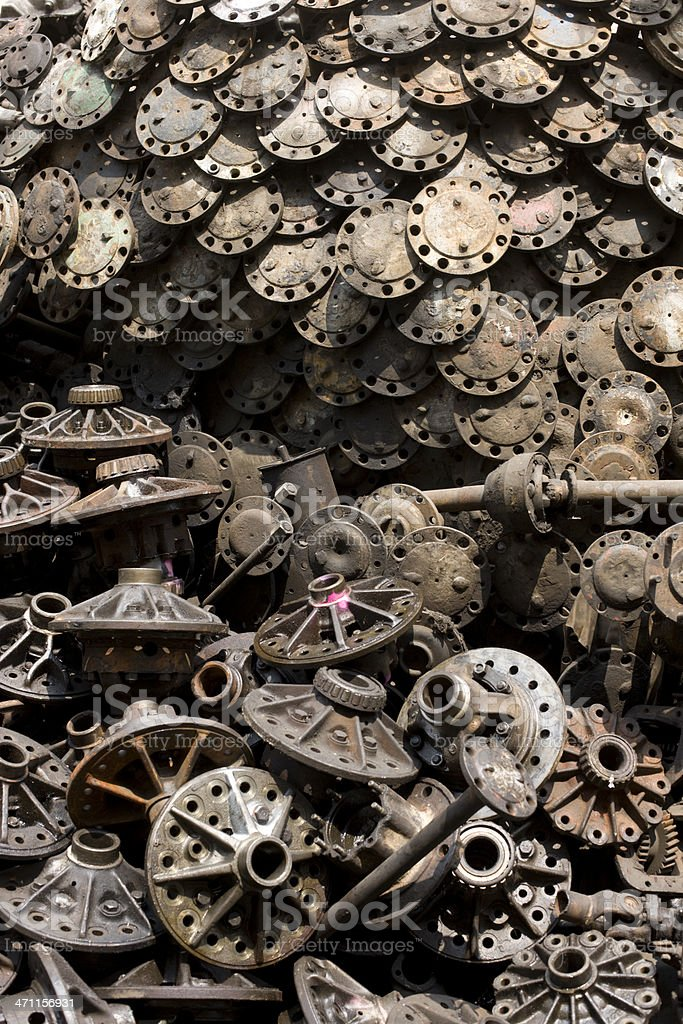 Car part scrap yard background. royalty-free stock photo