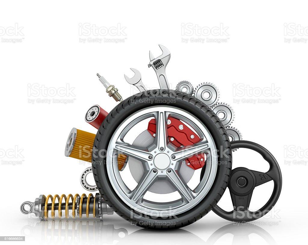 Car parts around the wheel stock photo