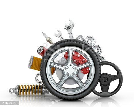 istock Car parts around the wheel 516686716