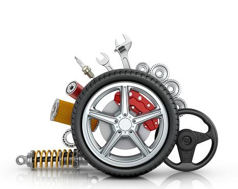 istock Car parts around the wheel 516686716