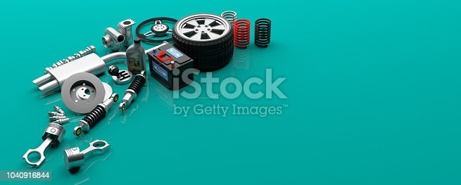 istock Car parts on green background. 3d illustration 1040916844