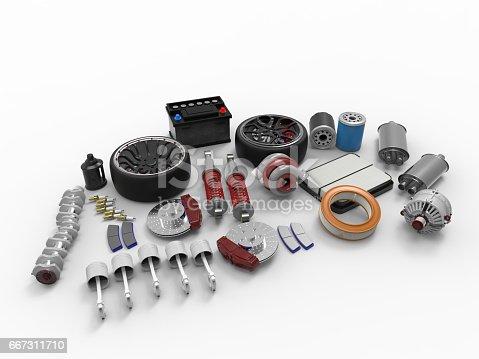 istock Car parts on white background. Tires, sparks, brakes, battery, turbine, alternator, oil filter.3D rendering. 667311710